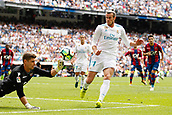 9th September 2017, Santiago Bernabeu, Madrid, Spain; La Liga football, Real Madrid versus Levante; Gareth Bale  Real Madrid gets past Raul Fernandez (1) Levante UD