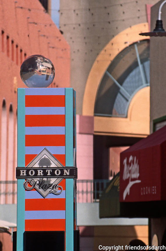 Horton Plaza:  Colorful signage and walls. San Diego. Photo Jan. 1987.