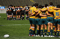 Australia and New Zealand huddle before kick-off during the International rugby match between New Zealand Secondary Schools and Suncorp Australia Secondary Schools at Yarrows Stadium, New Plymouth, New Zealand on Friday, 10 October 2008. Photo: Dave Lintott / lintottphoto.co.nz