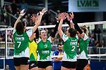 05.10.2019, Halle Berg Fidel, Muenster<br />Volleyball, Bundesliga Frauen, Normalrunde, USC MŸnster / Muenster vs. Allianz MTV Stuttgart<br /><br />Jubel Ivana Vanjak (#7 Muenster), Linda Bock (#1 Muenster), Liza Kastrup (#5 Muenster), Taylor Kaera Nelson (#2 Muenster), Sarah Emma van Aalen (#10 Muenster), Lina Alsmeier (#8 Muenster)<br /><br />  Foto © nordphoto / Kurth