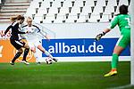16.03.2019, Stadion Essen, Essen, GER, AFBL, SGS Essen vs TSG 1899 Hoffenheim, DFL REGULATIONS PROHIBIT ANY USE OF PHOTOGRAPHS AS IMAGE SEQUENCES AND/OR QUASI-VIDEO<br /> <br /> im Bild | picture shows:<br /> Tanja Pawollek (FFC Frankfurt #31) im Duell mit Lea Schueller (SGS Essen #24),<br /> <br /> Foto &copy; nordphoto / Rauch