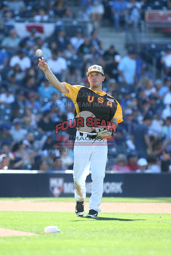 Alex Bregman of the USA Team makes a throw during a game against the World Team during The Futures Game at Petco Park on July 10, 2016 in San Diego, California. World Team defeated USA Team, 11-3. (Larry Goren/Four Seam Images)