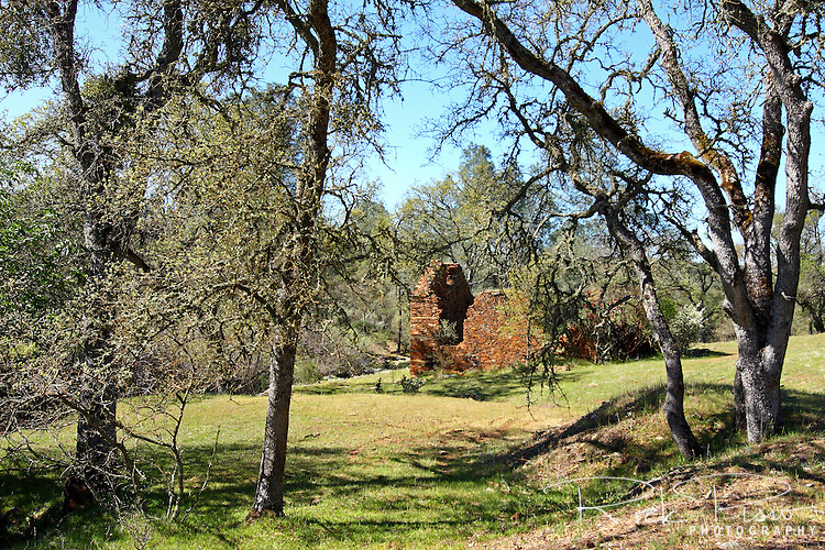 "Lost City is located in the California foothills in Calaveras County and was constructed in the late 1870's as an Icarian commune. It is speculated that the goal of the community was to, as its founder Etianne Cabet expressed, ""determine the best system of political happiness of the human race."" By 1896 the settlement was abandoned and today only a few walls of the original dozen or more dry-laid fieldstone buildings remain."