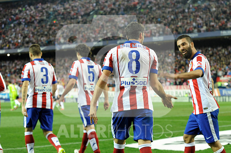 Atletico de Madrid´s Raul Garcia and Arda Turan celebrates a goal during 2014-15 La Liga match between Atletico de Madrid and Valencia CF at Vicente Calderon stadium in Madrid, Spain. March 08, 2015. (ALTERPHOTOS/Luis Fernandez)