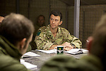 Mcc0027461 . Daily Telegraph..3 Para Battlegroup's commander Lt Col James Coates during a briefing in the Ops room, Shazad base , in the Chah e Anjir area of northern Nad e Ali district ...Helmand 25 November 2010