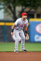 Richmond Flying Squirrels shortstop C.J Hinojosa (25) during a game against the Erie SeaWolves on August 22, 2016 at Jerry Uht Park in Erie, Pennsylvania.  Erie defeated Richmond 4-2.  (Mike Janes/Four Seam Images)