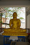 Large golden Buddha statue, Gangaramaya Buddhist Temple, Colombo, Sri Lanka, Asia