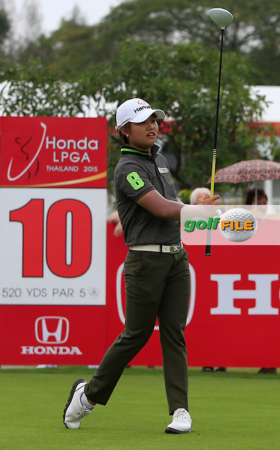 Haru Nomura (JPN) on the 10th tee during Round 2 of the Honda LPGA at the Siam Country Club Old Course in Pattaya on Friday 27th February 2015.<br /> Picture:  Thos Caffrey / www.golffile.ie