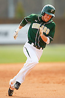 Shane Brown #1 of the Charlotte 49ers hustles towards third base against the Missouri Tigers at Robert and Mariam Hayes Stadium on February 27, 2011 in Charlotte, North Carolina.  Photo by Brian Westerholt / Four Seam Images