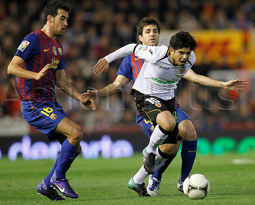 01.02.2012. Valencia, Spain. Ever in action during  semi-final Copa del Rey, first leg, match between Valencia against FC Barcelona at Mestalla stadium