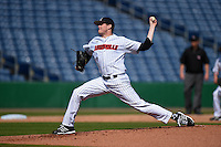 Louisville Cardinals pitcher Josh Rogers (13) delivers a pitch during a game against the Cal State Fullerton Titans on February 15, 2015 at Bright House Field in Clearwater, Florida.  Cal State Fullerton defeated Louisville 8-6.  (Mike Janes/Four Seam Images)