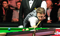 Judd Trump plays a shot on the red during the Dafabet Masters Quarter Final 2 match between Judd Trump and Neil Robertson at Alexandra Palace, London, England on 15 January 2016. Photo by Liam Smith / PRiME Media Images.
