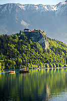 Lake Bled with Bled castle and a flat bottomed boat called a Pletna. Bled Slovania.