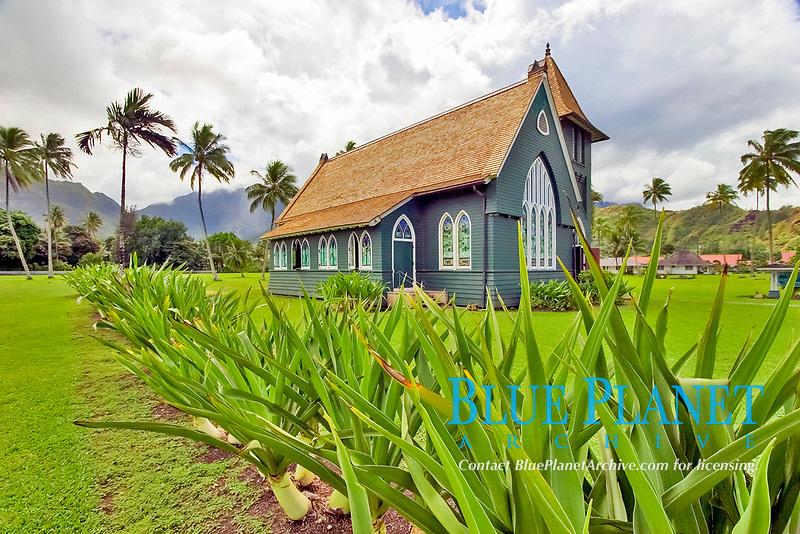 Wai'oli Hui'ia Church in the town of Hanalei, Kauai, Hawaii, USA