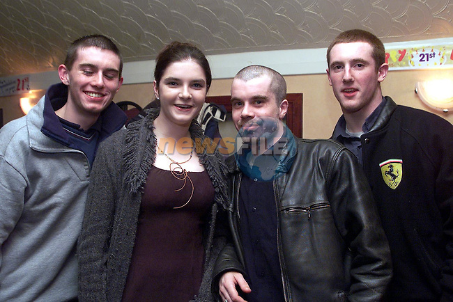 Gavin Byrne, Sinead Callaghan, Brian O'Shea and Robert Gargan at Edward Mee's 21st in the Trinity Arms..Picture Paul Mohan Newsfile