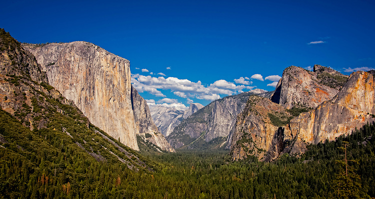 September 2014 / Yosemite National Park landscapes / Pano Taken from Centinal Dome / Sentinal Dome / Half Dome, El Capitan / Tunnel View / Glacier Point / Cliffs of Glacier Point / Bridal Veil Falls / Photos by Bob Laramie