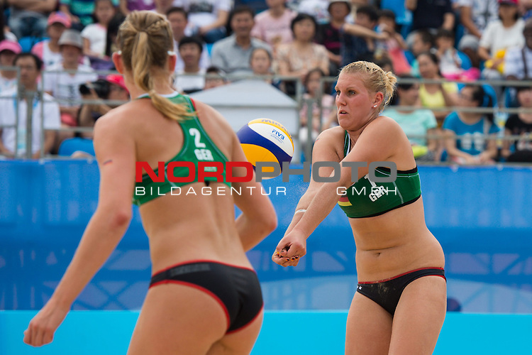 26.08.2014, Nanjing, Youth Olympic Sports Park<br /> Youth Olympic Games 2014, Halbfinale<br /> <br /> Annahme Sarah Schneider (GER)<br /> <br />   Foto &copy; nordphoto / Kurth