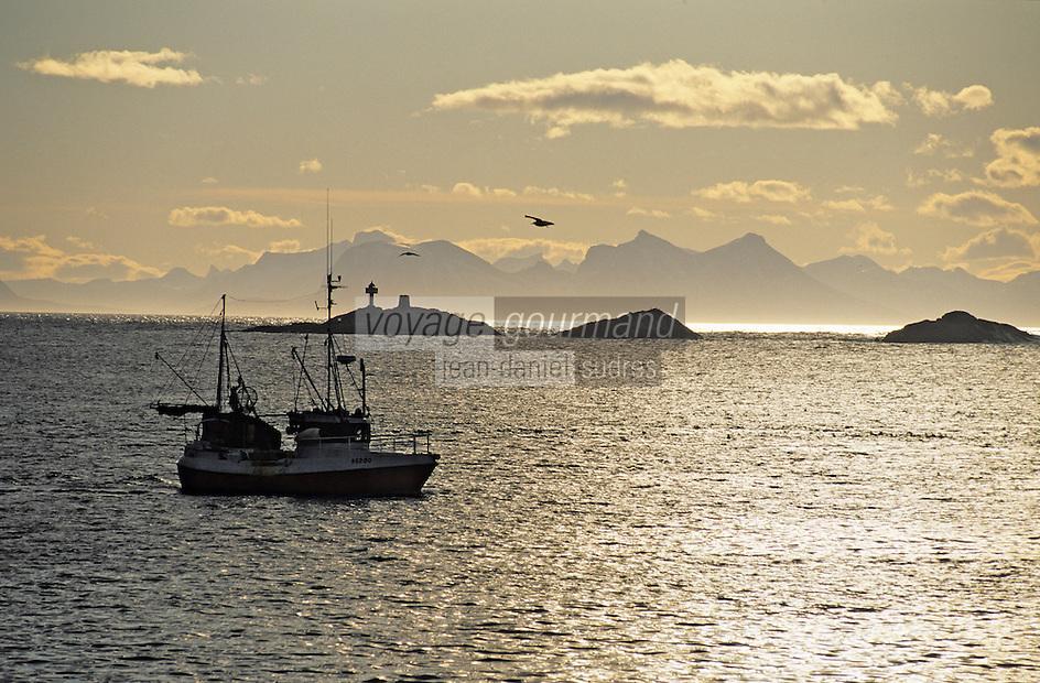 Europe/Norvège/Iles Lofoten/env d'Hennigsvaer: départ d'un bateau pour la pèche au skréi cabillaud dans la lumiére du soir sur le fjord