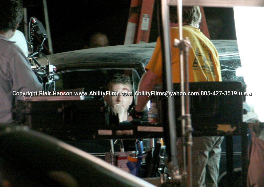 "Ryan Phillippe filming a movie called ""Stop loss"".in Newhall california on 4-13-07. Big cut on his head. Exclusive"