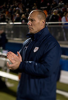 Virginia head coach George Gelnovatch watches his team before the ACC tournament semifinals at the Maryland SoccerPlex in Boyds, MD.  Virginia advanced to the finals after tying Notre Dame, 3-3, in overtime and then defeating them on penalty kicks.