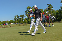 Padraig Harrington (IRL) and Shane Lowry (IRL) head down 18 during Round 1 of the Zurich Classic of New Orl, TPC Louisiana, Avondale, Louisiana, USA. 4/26/2018.<br /> Picture: Golffile | Ken Murray<br /> <br /> <br /> All photo usage must carry mandatory copyright credit (&copy; Golffile | Ken Murray)