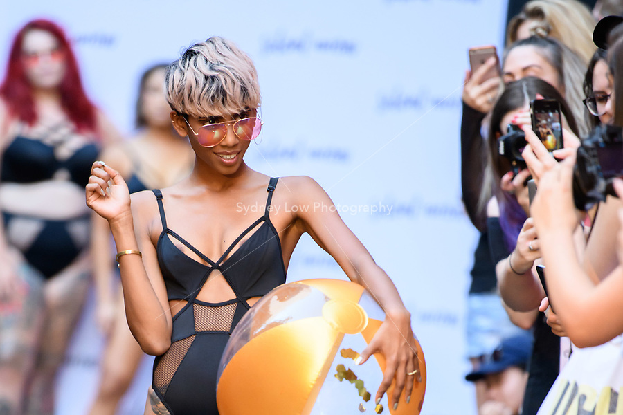 10 March 2018, Melbourne - Model showcases design by Silent Arrow during the Truly Rad Girl Runway show at the 2018 Virgin Australia Melbourne Fashion Festival in Melbourne, Australia. (Photo Sydney Low / asteriskimages.com)
