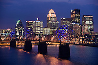 Dusk view of downtown Louisville, KY.