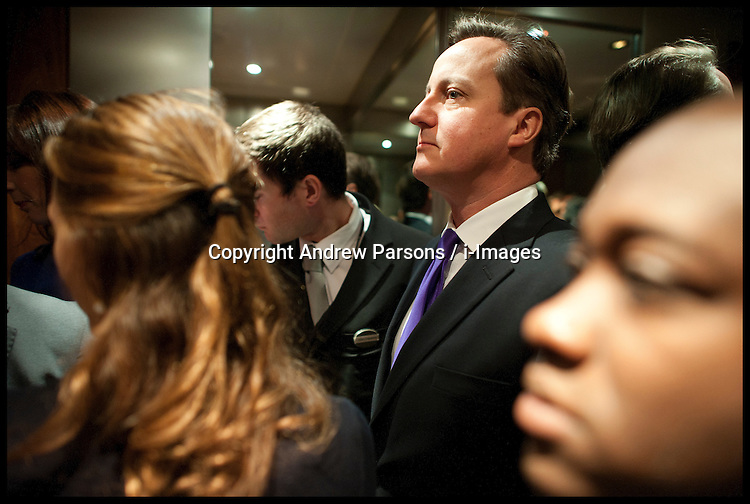 British Prime Minister David Cameron in the lift before delivering his speech to delegates on the last day of the Conservative party conference, International Convention Centre, October 10, 2012, Birmingham, England. Photo by Andrew Parsons / i-Images..