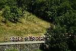 The peloton in action during Stage 12 of the 2018 Tour de France running 175.5km from Bourg-Saint-Maurice les Arcs to Alpe D'Huez, France. 19th July 2018. <br /> Picture: ASO/Alex Broadway | Cyclefile<br /> All photos usage must carry mandatory copyright credit (&copy; Cyclefile | ASO/Alex Broadway)