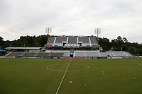 Cary, North Carolina  - Wednesday May 24, 2017: View from the east stand broadcast platform of Sahlen's Stadium Box Office prior to a regular season National Women's Soccer League (NWSL) match between the North Carolina Courage and the Sky Blue FC at Sahlen's Stadium at WakeMed Soccer Park. The Courage won the game 2-0.