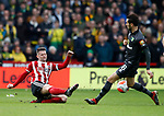 Oliver Norwood of Sheffield Utd tackles Mario Vrancic of Norwich Cityduring the Premier League match at Bramall Lane, Sheffield. Picture date: 7th March 2020. Picture credit should read: Simon Bellis/Sportimage
