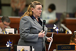 Nevada Assemblywoman Maggie Carlton, D-Las Vegas, speaks on the Assembly floor at the Legislative Building in Carson City, Nev., on Wednesday, April 1, 2015. <br /> Photo by Cathleen Allison