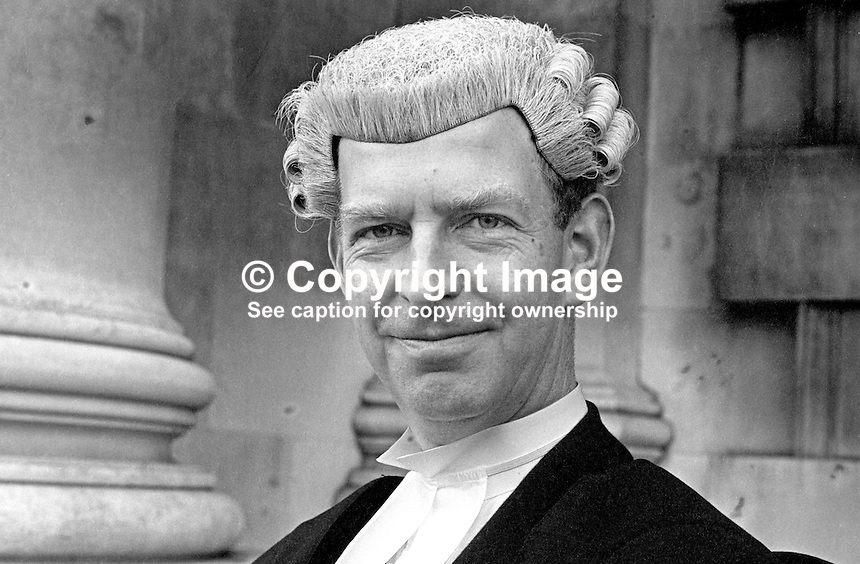 James Edward Holroyd Pearce, barrister, English Bar, photographed November 1974 on the occasion of him being called to the N Ireland Bar. 197411000633<br />