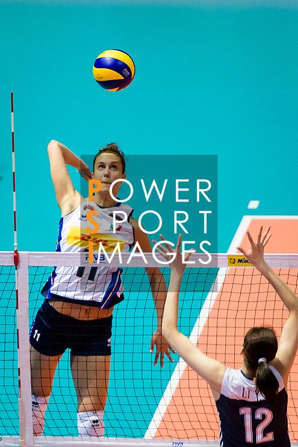 Anna Danesi of Italy attacks during the FIVB Volleyball Nations League Hong Kong match between China and Italy on May 31, 2018 in Hong Kong, Hong Kong. Photo by Marcio Rodrigo Machado / Power Sport Images