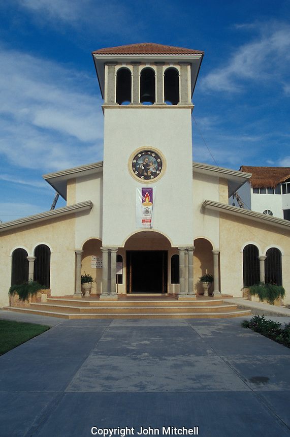 Town church in Puerto Morelos, Quintana Roo, Mexico