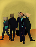Businessmen with cardboard box on their head