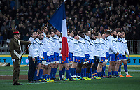 France line up before the Steinlager Series international rugby match between the New Zealand All Blacks and France at Forsyth Barr Stadium in Wellington, New Zealand on Saturday, 23 June 2018. Photo: Dave Lintott / lintottphoto.co.nz