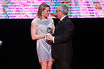 Spanish swimmer Mireia Belmonte with the COE's President Alejandro Blanco during 37 Sport Gala - National Sports Awards 2017. March 6,2017. (ALTERPHOTOS/Acero)
