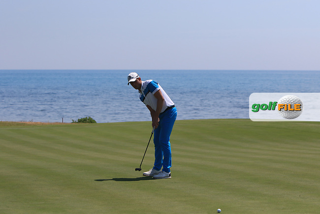 Alexander Bjork (SWE) on the 7th green during Round 1 of The Rocco Forte Open  at Verdura Golf Club on Thursday 18th May 2017.<br /> Photo: Golffile / Thos Caffrey.<br /> <br /> All photo usage must carry mandatory copyright credit     (&copy; Golffile | Thos Caffrey)