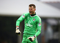 17th March 2018, Craven Cottage, London, England; EFL Championship football, Fulham versus Queens Park Rangers; Goalkeeper Marcus Bettinelli of Fulham celebrates towards the Fulham fans after Lucas Piazon of Fulham scores his sides 2nd goal in the 45th minute to make it 2-0