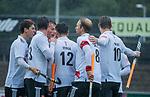 AMSTELVEEN - vreugde bij Amsterdam  bij het doelpunt  tijdens de hoofdklasse competitiewedstrijd mannen, Amsterdam-HCKC (1-0).  COPYRIGHT KOEN SUYK