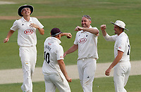 Rikki Clarke of Surrey (second right) celebrates taking the wicket of Adam Wheater during Essex CCC vs Surrey CCC, Bob Willis Trophy Cricket at The Cloudfm County Ground on 8th August 2020