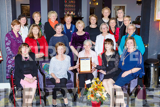 Killarney Soroptimists presents the woman of the year to Eileen Switzer in the Gleneagle Hotel on Tuesday night front row l-r: Peggy Richard, Claire Bowler 2016 President, Emer Moynihan 2017 President, Teresa Irwin National President, Middle row: Bridie Brosnan, Helen O'Brien, Mona Looney, Eileen Foley, Sheila O'Donoghue, Sheila Casey, Back row: Catherine McMullen, Frankie McMahon, Noreen Browne, Maura Fitzgerald, Catherine Gleeson, Ann O'Connor Ann O'Leary, Doreen Louwers, Noreen O'Sullivan
