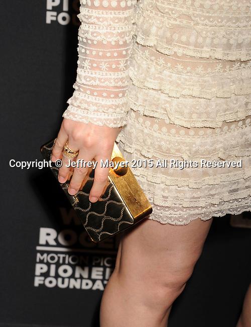 LAS VEGAS, NV - APRIL 22: Actress Kate Mara, handbag, ring detail, at the Pioneer Dinner during 2015 CinemaCon at Caesars Palace on April 22, 2015 in Las Vegas, Nevada.