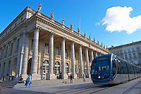 Le Grand Theatre theatre and opera house on Place De La Comedie. The modern tram. Bordeaux city, Aquitaine, Gironde, France