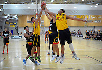 Action from the 2016 National Under-15 Basketball boys semifinal match between Wellington and Waikato at ASB Sports Centre, Wellington, New Zealand on Friday, 22 July 2016. Photo: Dave Lintott / lintottphoto.co.nz