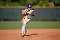 Mount St. Mary's Mountaineers first baseman Thomas Savastio (23) running the bases during a game against the Ball State Cardinals on March 9, 2019 at North Charlotte Regional Park in Port Charlotte, Florida.  Ball State defeated Mount St. Mary's 12-9.  (Mike Janes/Four Seam Images)