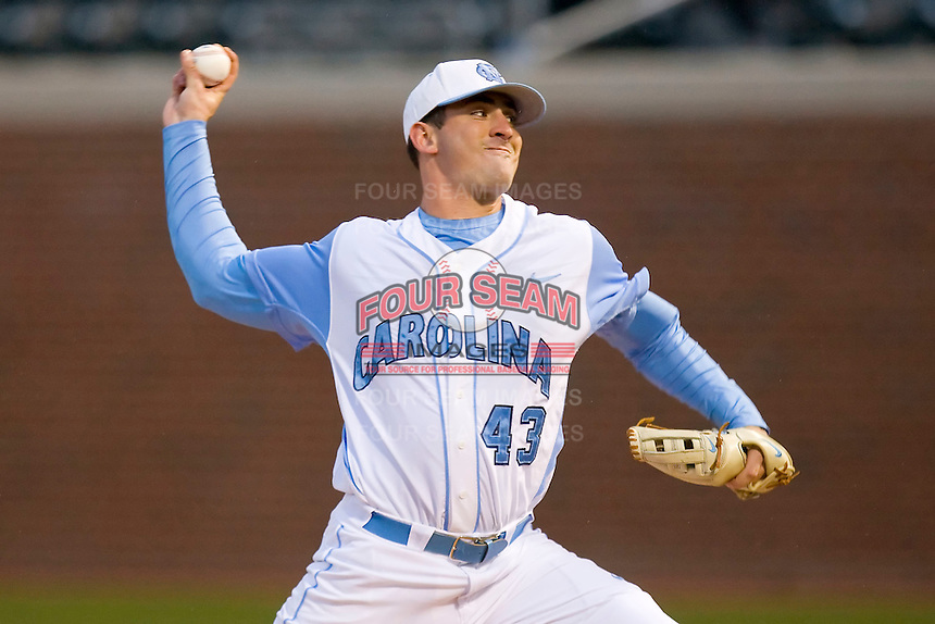 Starting pitcher Matt Harvey #43 of the North Carolina Tar Heels in action against the Georgia Tech Yellow Jackets at Boshamer Stadium March 26, 2010, in Chapel Hill, North Carolina.  Photo by Brian Westerholt / Four Seam Images
