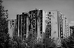 Mostar, Bosnia, June 1993.<br /> <br /> Shelled building, Mostar.