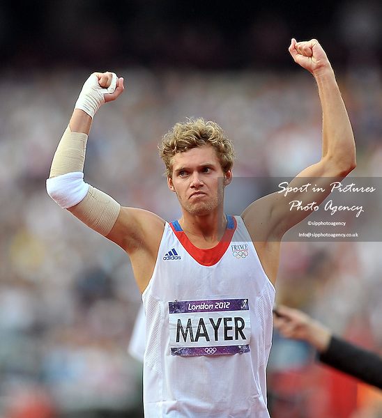 France's Kevin Mayer celebrates. Athletics - PHOTO: Mandatory by-line: Garry Bowden/SIP/Pinnacle - Photo Agency UK Tel: +44(0)1363 881025 - Mobile:0797 1270 681 - VAT Reg No: 768 6958 48 - 08/08/2012 - 2012 Olympics - Olympic Stadium, Olympic Park, London, England.
